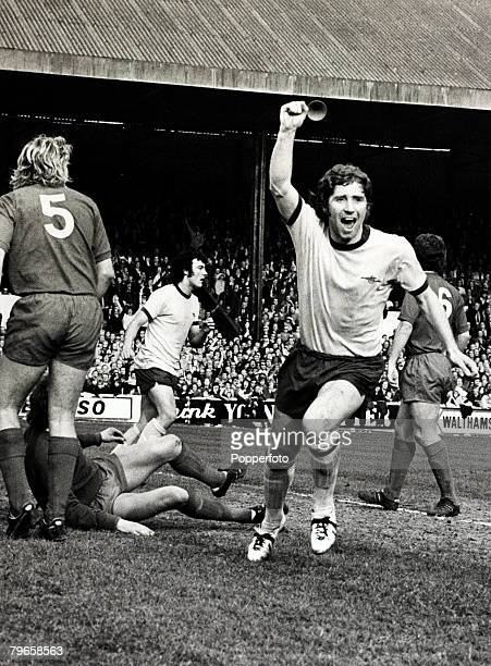 18th March 1972 FACup Quarter Final Leyton Orientv Arsenal Arsenal's Alan Ball arm raised in celebration after scoring the only goal of the game Alan...