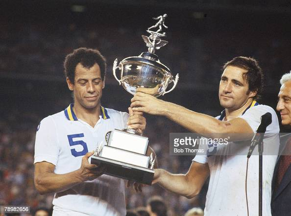18th September 1982 NASLSoccer Bowl in San Diego New York Cosmos 1 v Seattle 0 New York Cosmos pair Carlos Alberto left and Georgio Chinaglia hold...