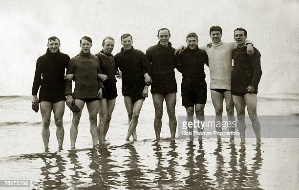 1914 Burnley players on the beach at Lytham during the year that they won the FA Cup Leftright Nesbitt Lindley Thorpe Dawson Reid Watson Taylor and...
