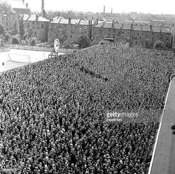 1956 An aerial view of some of the 51000 spectators attending Arsenal's first match of the season at Highbury
