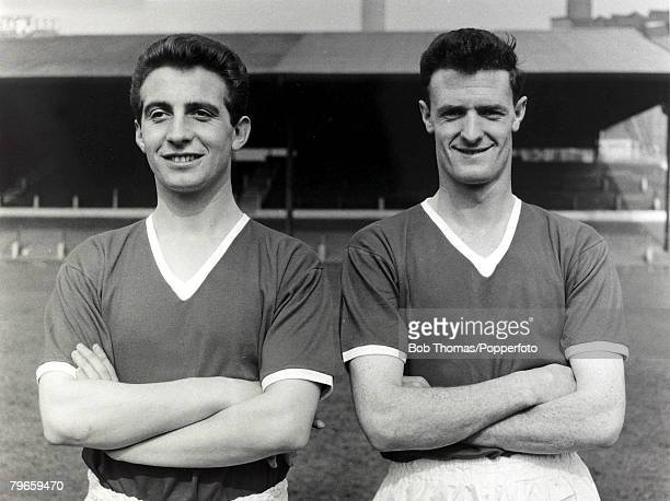 1956 Manchester United pair David Pegg and Liam 'Bill' Whelan pictured at Old Trafford The two 'Busby Babes' were both involved in the Munich Air...