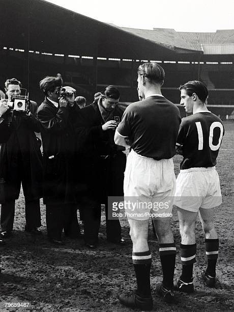 1956 Manchester United pair Mark Jones and Dennis Viollet the centre of attention for the photographers The two 'Busby Babes' were both involved in...