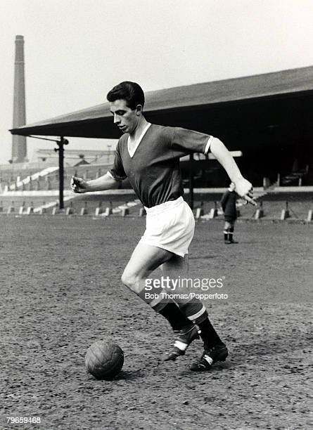 1956 Manchester United's David Pegg training at Old Trafford One of the 'Busby Babes' he was killed in the Munich Air Crash of 6th February 1958