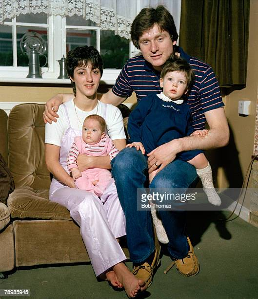 1970's Arsenal defender Steve Walford at home with his wife Terry and children Kate and Emma