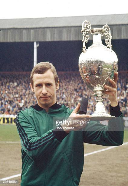 1972 Derby County's John McGovern holds aloft the league Championship trophy for season 19711972