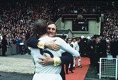 1972 FA Cup Final at Wembley Leeds United 1 v Arsenal 0 Leeds United Manager Don Revie hugs defender Jack Charlton at the end