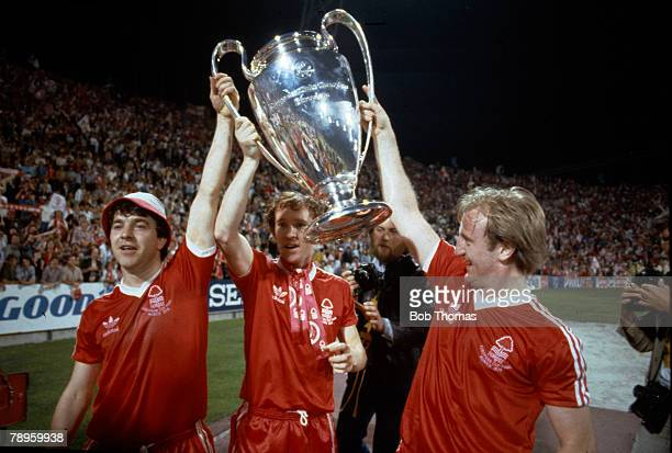 1979 1979 European Cup Final in Munich Nottingham Forest 1 v Malmo 0 Nottingham Forest's John Robertson Ian Bowyer and Kenny Burns celebrate with the...