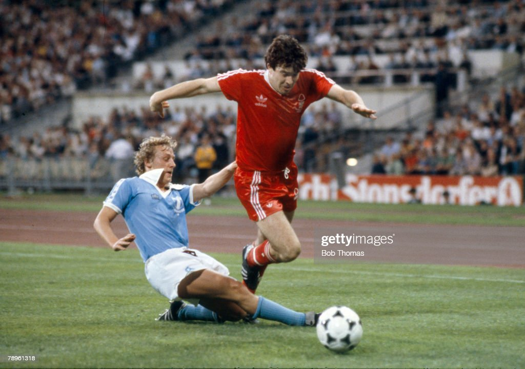 1979 1979 European Cup Final in Munich Nottingham Forest 1 v Malmo 0 Nottingham Forest's John Robertson beats a challenge from Malmo's Robert Prytz