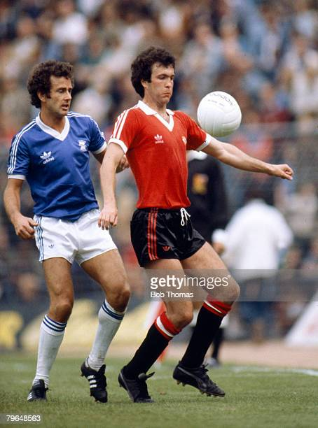 1979 Division 1 Birmingham City v Manchester United Manchester United's Chris McGrath shields the ball as he is challenged by Birmingham City's...