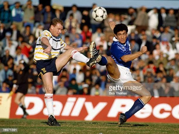 1989 World Cup Qualifier in Limassol Cyprus 2 v Scotland 3 Scotland's David Speedie contests the ball with George Christodoulou of Cyprus David...