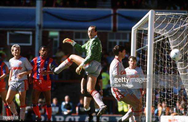1990 FA Cup SemiFinal at Villa Park Liverpool 3 v Crystal Palace 4 In a packed penalty area Liverpool goalkeeper Bruce Grobbelaar watches as the ball...