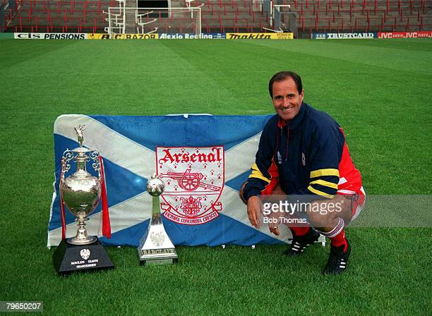 1991 Arsenal Manager George Graham with the First Division Championship trophies won by the club in season 19901991