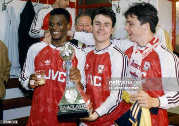 1991 Arsenal players leftright Paul Davis Anders Limpar and David Hillier during the 'Gunners' celebrations to toast their League Championship success
