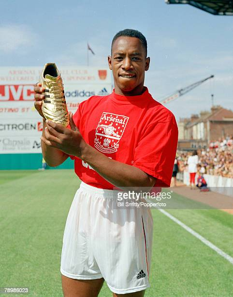 1992 Arsenal striker Ian Wright proudly holds his Golden Shoe award for his 29 goals in season 19911992