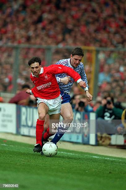 1992 Rumbelows Cup Final at Wembley Manchester Unitedv Nottingham Forest Nottingham Forest's Gary Crosby tries to hold off a challenge from...