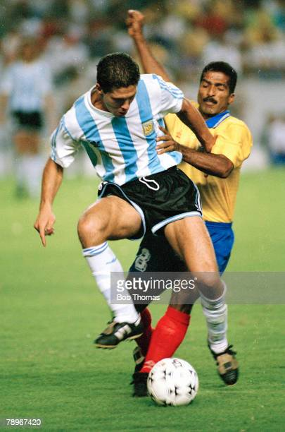 1993 Copa America Argentina v Colombia Argentina's Diego Simeone rides a strong challenge