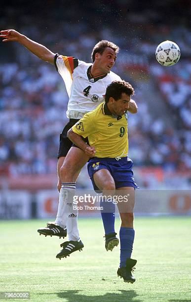 1993 USCup in Washington Germanyv Brazil Brazil's Careca is outjumped by Germany's Jurgen Kohler Careca a striker moved to Napoli in 1987 and teaming...