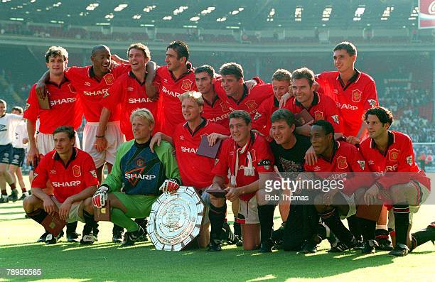 1994 FACharity Shield at Wembley Manchester United 2 v Blackburn Rovers 0 Manchester United Back row left right Mark Hughes Dion Dublin Lee Sharpe...