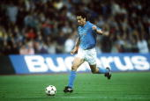 19th April 1989 UEFACup SemiFinal 2nd Leg Bayern Munichv Napoli Napoli win 42 on aggregate Napoli's Careca moves away with the ball to score the 2nd...