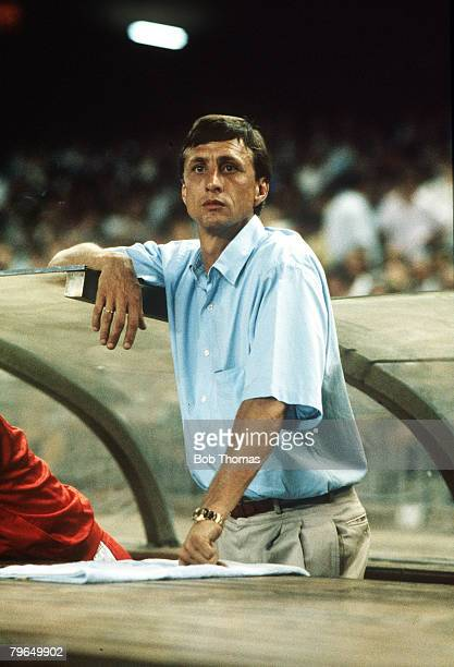 19th August 1987 Joan Gamper Tournament in Barcelona Barcelona 3v Ajax Amsterdam 2 Johan Cruyff Ajax Amsterdam Coach Johan Cruyff one of the greatest...
