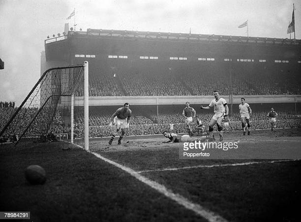 1st February 1958 Division 1 Arsenal 4 v Manchester United 5 at Highbury Arsenal goalkeeper Jack Kelsey watches the ball go out of play after...