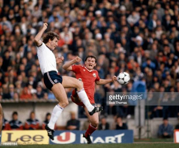 1st May 1985 World Cup Qualifier in Bucharest Romania 0 v England 0 England defender Terry Butcher clears from Romania's Marcel Coras