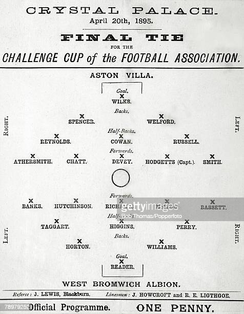 20th April 1895 FA Cup Final at Crystal Palace Aston Villa 1 v West Bromwich Albion 0 Official match card listing the players from both sides in...
