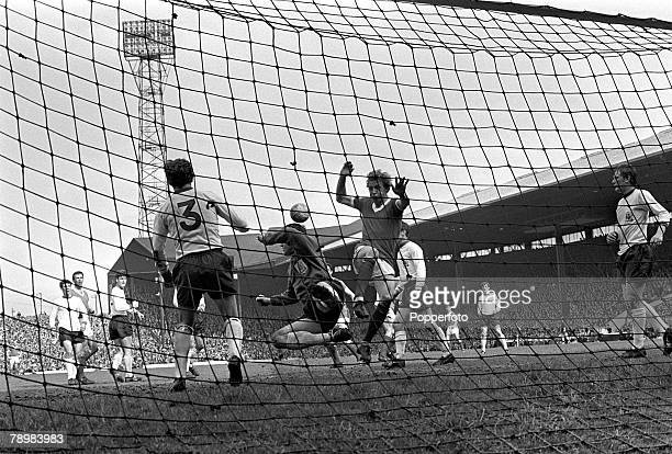 20th April 1968 Division 1 Manchester United 1 v Sheffield United 0 at Old Trafford Manchester United's Denis Law causing problems in a packed...