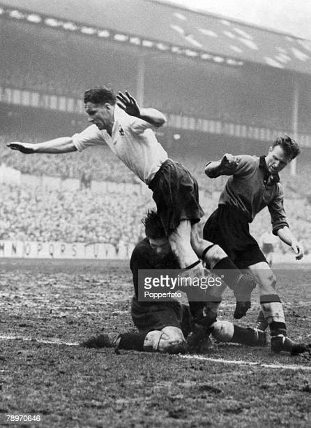 20th January 1951 Division 1 Tottenham Hotspur v Wolverhampton Wanderers Bill NicholsonTottenham Hotspur protects his goalkeeper Ted Ditchburn in...