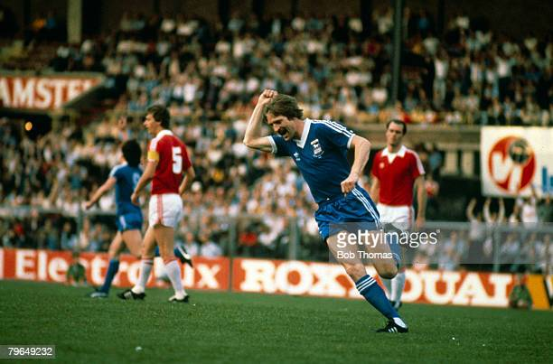 20th May 1981 UEFA Cup Final 2nd Leg AZ 67 Alkmaar 4 v Ipswich Town 2 Ipswich win 54 on aggregateIpswich Town's Frans Thijssen pictured after scoring...