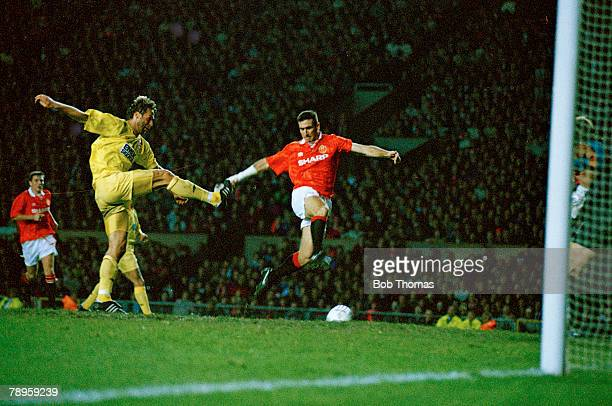 20th October 1993 European Cup Manchester United 3 v Galatasaray 3 Manchester United's Eric Cantona scores the 3rd goal