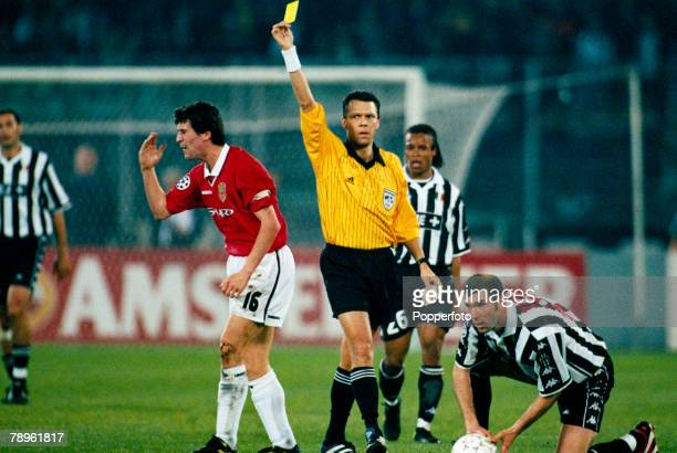 21st April 1999 UEFA Champions League SemiFinal 2nd Leg Juventus 2 v Manchester United 3 Manchester United's Roy Keane gets the yellow card after...