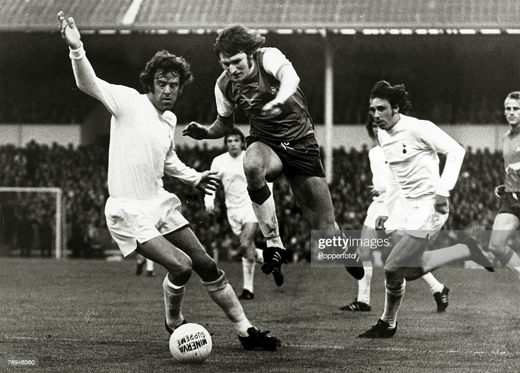 21st May 1974 UEFACup Final Ist Leg Tottenham Hotspur 2 v Feyenoord 2 Feyenoord forward Theo De Jong jumps past a challenge from Tottenham Hotspur's...