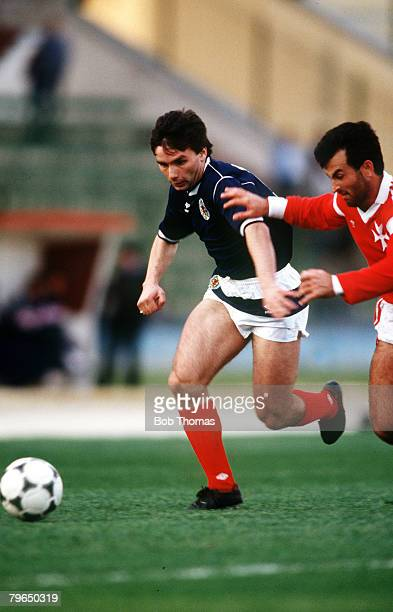 22nd March 1988 Friendly International in Valetta Maltav ScotlandJohn Colquhoun Scotland left John Colquhoun played his best football in his first...