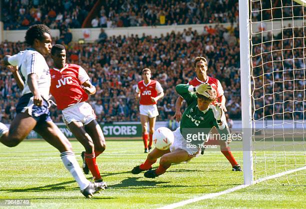 24th April 1988 Littlewoods Cup Final at Wembley Arsenal 2 v Luton Town 3 Arsenal goalkeeper John Lukic dives to save from Luton Town's Ricky Hill