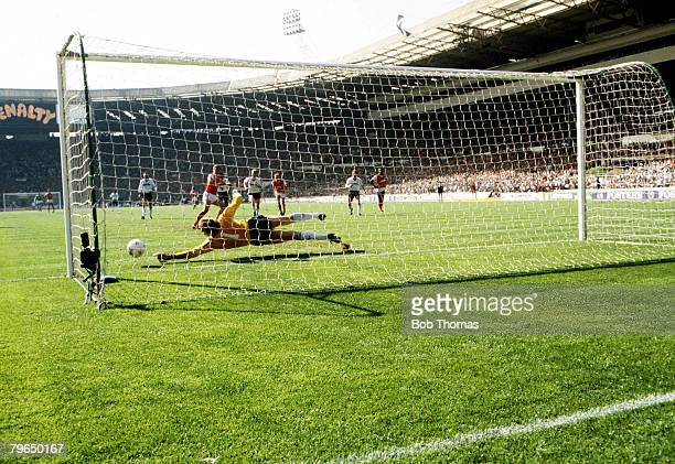 24th April 1988 Littlewoods Cup Final at Wembley London Arsenal 2v Luton Town 3 Luton Town goalkeeper Andy Dibble goes full length to save an Arsenal...