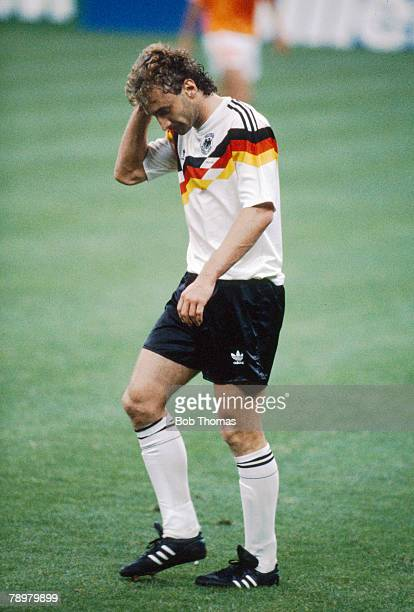 24th June 1990 World Cup Finals Milan West Germany 2 v Holland 1 Rudi Voller West Germany has been sent off rather unluckily after he had been spat...