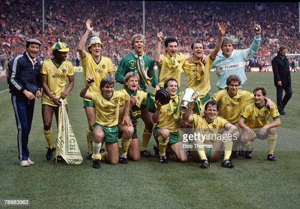 24th March 1985 Milk Cup Final at Wembley Norwich City 1 v Sunderland 0 Norwich City 1985 Milk Cup winners Back row Louie Donowa Steve Bruce Chris...