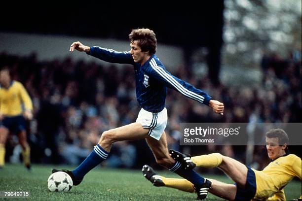 24th October 1981 Division 1 Ipswich Town 2 v Arsenal 1 Ipswich Town's Arnold Muhren beats Arsenal's Graham Rix