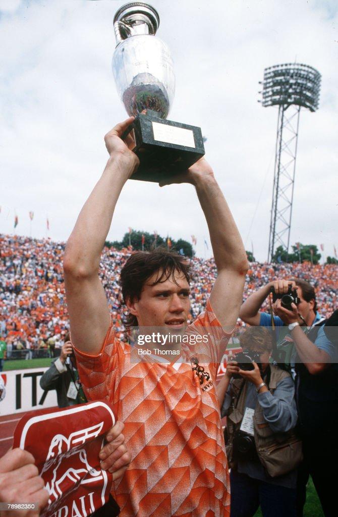 25th June 1988, European Championship Final in Munich, Holland 2, v Russia 0, Holland's Marco Van Basten raises the European Championship trophy