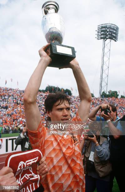 25th June 1988 European Championship Final in Munich Holland 2 v Russia 0 Holland's Marco Van Basten raises the European Championship trophy