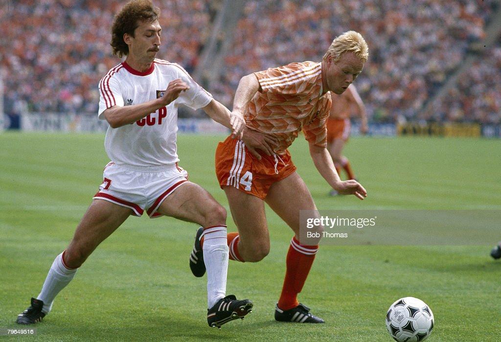 25th June 1988, European Championship Final, Munich, Holland 2 v U,S,S,R, 0, Holland's Ronald Koeman , right, challenged by USSR's Sergei Aleinikov