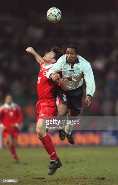 25th March 1998 Friendly International in Berne Switzerland 1 v England 1 England's Paul Ince flies through the air as he opposes Switzerland's...