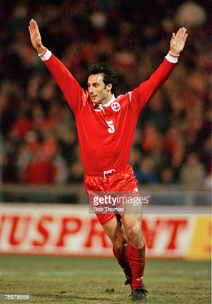 25th March 1998 Friendly International in Berne Switzerland 1 v England 1 Switzerland's Ramon Vega celebrates after scoring a goal with a glancing...