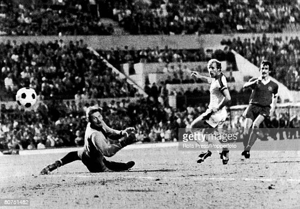 25th May 1977 European Cup Final in Rome Liverpool 3 v Borussia Moenchengladbach 1 Liverpool's Terry McDermott right scores a goal as Borussia's...