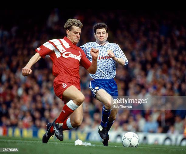 26th April 1992 Division 1 Liverpool 0 v Manchester United 0 Liverpool's Nick Tanner left in a race for the ball with Manchester United's Denis Irwin