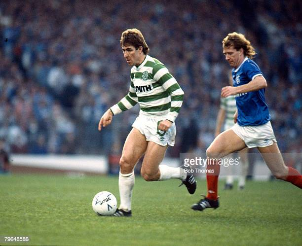 26th October 1986 Skol Cup Final at Hampden Park Rangers 2 v Celtic 1 Celtic's Mark McGhee moves away from Rangers' Jimmy Nicholl Mark McGhee won 4...