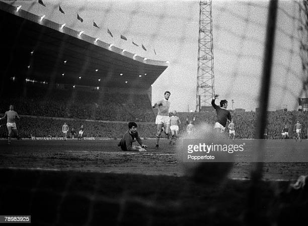 27th March 1968 Division 1 Manchester United 1 v Manchester City 3 at Old Trafford Manchester United's George Best scores for United in the derby game