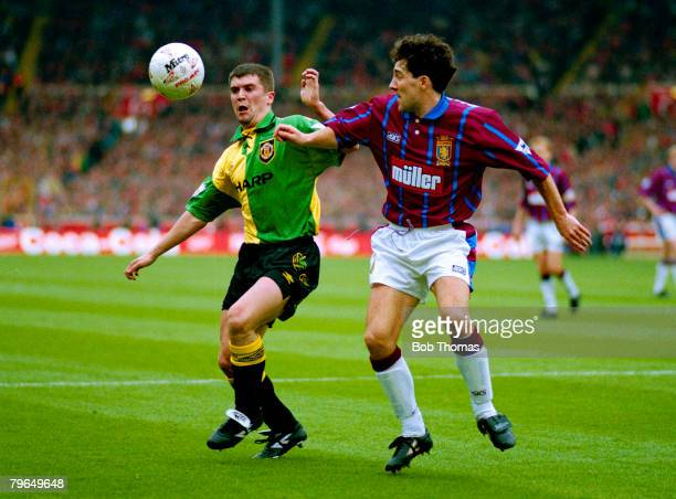 27th March 1994 Coca Cola Cup Final Aston Villa 3 v Manchester United 1 Manchester United's Roy Keane contests a high ball with Aston Villa's Dean...