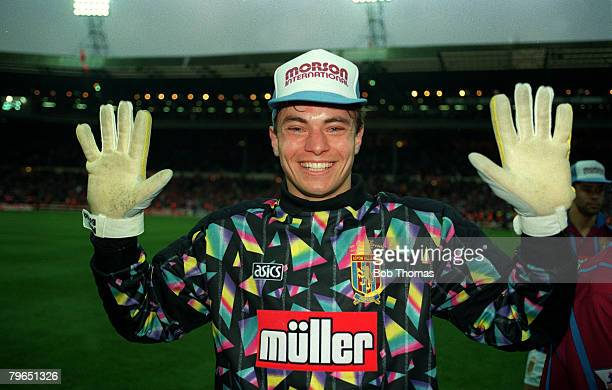 27th March 1994 Coca Cola Cup Final at Wembley Aston Villa 3 v Manchester United 1 Aston Villa's Mark Bosnich celebrates after the game